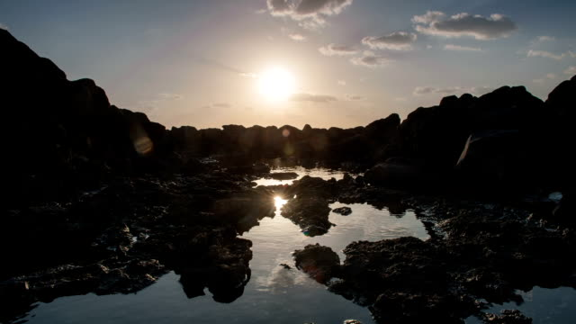 view of sunrise and reflection of water surface and basalt - basalt stock videos & royalty-free footage