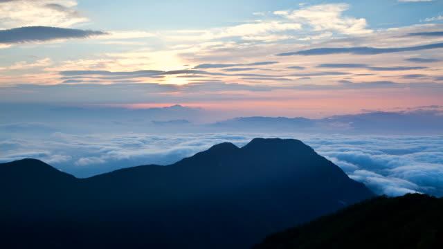 T/L WS View of sunrise / Azumino,  Nagano, Japan