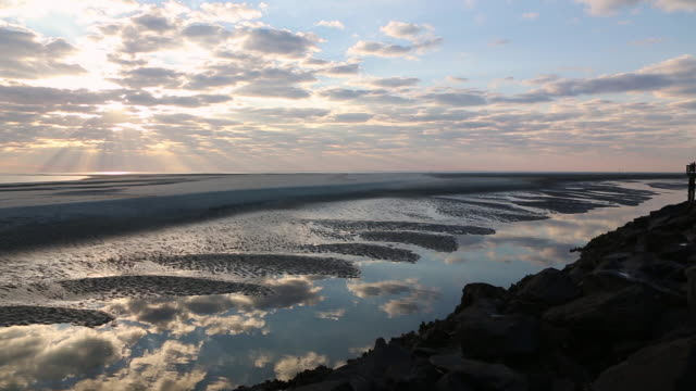 ws pan view of sunrise over ocean / st. simons island, georgia, united states - 1 minute or greater stock videos & royalty-free footage