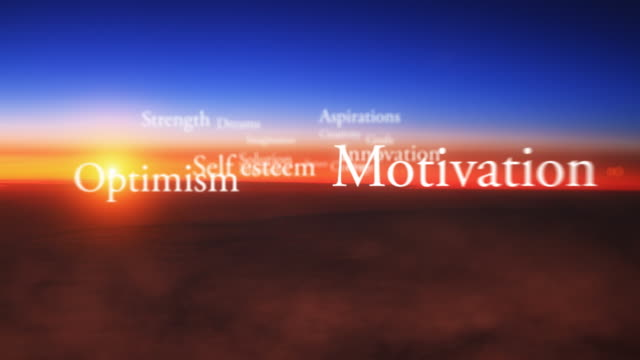 ws view of sunrise with positive words looping / oslo, norway - solutions stock videos & royalty-free footage