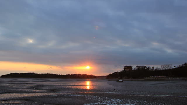 ws t/l view of sunset at jebudo island with mud flat / hwaseong, hwaseong, south korea - mud flat stock videos and b-roll footage