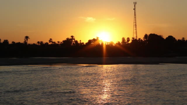 WS POV View of Sunset in front of Nile river / Aswan, Egypt
