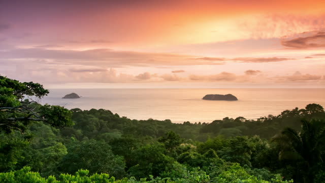 WS T/L View of sunset on manuel antonio bay and manuel antonio national park / Quepos, Manuel Antonio, Costa Rica