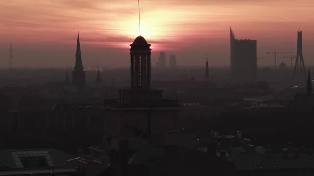 WS View of Sunset on Riga Skyline / Riga, Latvia