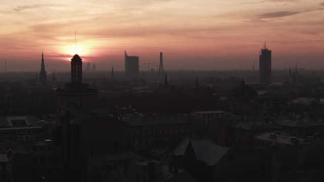 WS View of Sunset on Riga Skyline / Riga, Latvia