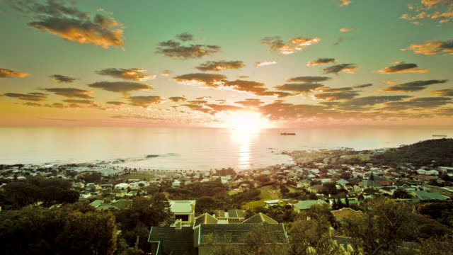 WS PAN T/L View of sunset over bay / Cape Town, South Africa
