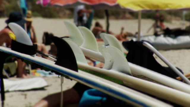cu view of surfboards lined up on beach, people in background / laguna beach, california, usa - laguna beach california video stock e b–roll