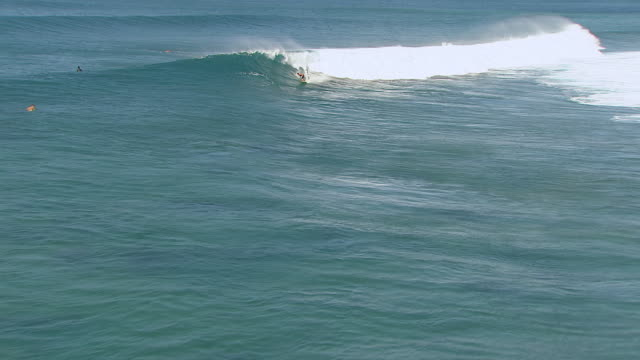 ws zi aerial view of surfer riding wave while other surfers paddle out to sea near island of oahu / hawaii, united states - badbyxor bildbanksvideor och videomaterial från bakom kulisserna