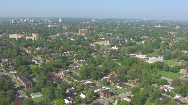 ws aerial view of surrounding neighborhood where chuck berry grew up / st louis, missouri, united states - ミズーリ州 セントルイス点の映像素材/bロール