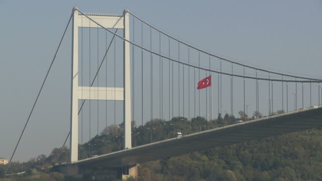 view of suspension bridge in istanbul turkey - july 15 martyrs' bridge stock videos & royalty-free footage
