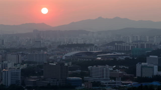 View of Suwon World Cup Stadium (One of the stadiums for 2002 ) at sunset