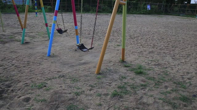 View of swings at playground