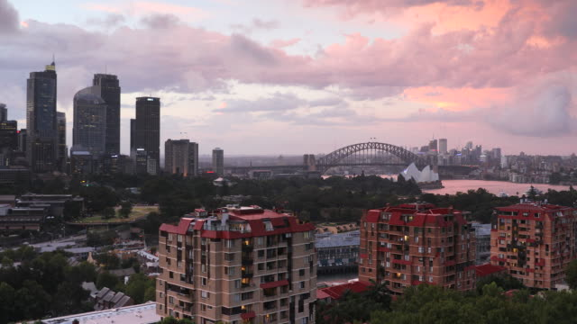 View of Sydney skyline and Sydney Harbour, Sydney, New South Wales, Australia, Pacific