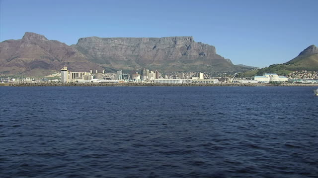 WS AERIAL View of Table Mountain at Cape Town / Western Cape, South Africa