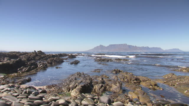 WS View of Table Mountain from Robben Island / Cape Town, Western Cape, South Africa