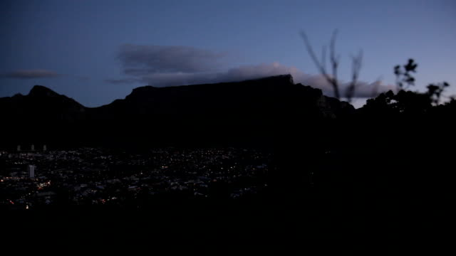 WS View of Table Mountain from Signal Hill at dusk, Cape Town, South Africa
