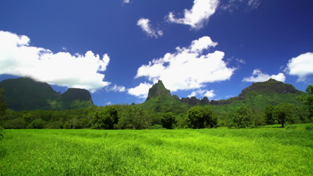 view of tahitian windward mountain range french polynesia - french polynesia stock videos & royalty-free footage