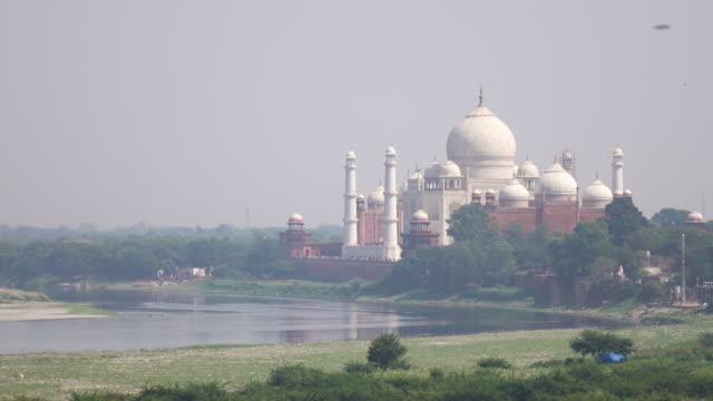 Weergave van Taj Mahal van Agra fort, Uttar Pradesh, India