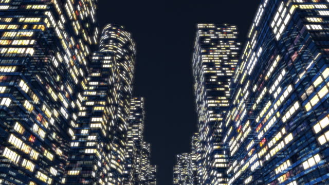 WS POV CGI View of tall buildings in city at night / Germany