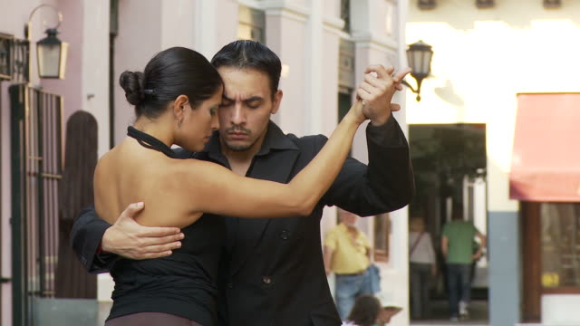 view of tango dancers in buenos aires, argentina - san telmo stock videos & royalty-free footage