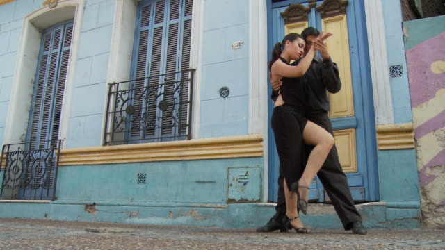 view of tango dancers in buenos aires, argentina - argentina stock videos & royalty-free footage