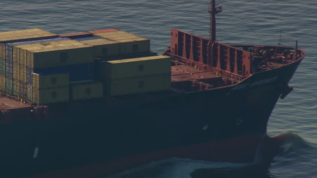 ms aerial view of tanker in chesapeake bay / virginia, united states - container stock videos & royalty-free footage
