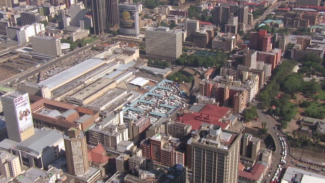 ms aerial zo view of taxi rank in city of johannesburg / south africa - taxi rank stock videos & royalty-free footage