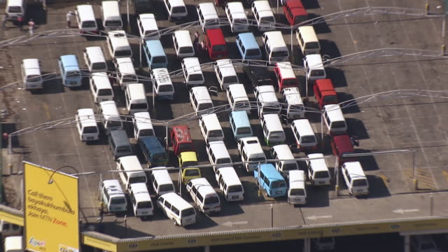 ms aerial zo view of taxi rank in johannesburg city center / south africa - taxi rank stock videos & royalty-free footage