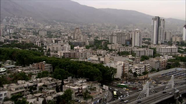 ws ha view of tehran with mountains in background, iran - tehran stock videos & royalty-free footage