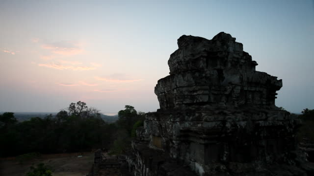 WS  View of  temple at sunset / Siem Reap, Siem Reap, Cambodia