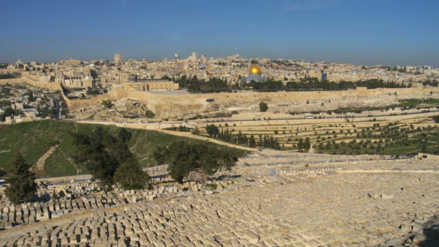 WS View of Temple Mount and Mt. of olives cemetery / Jerusalem, Judea, Israel