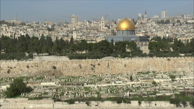 WS AERIAL View of temple mount in Jerusalem / Jerusalem, Israel