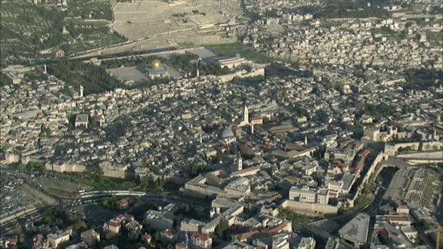 WS ZO AERIAL View of temple Mount in Jerusalem / Jerusalem, Israel