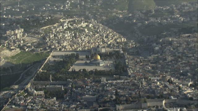 WS ZI AERIAL View of temple Mount in Jerusalem / Jerusalem, Israel