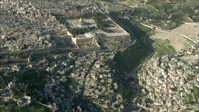 WS PAN AERIAL View of temple mount in Jerusalem / Jerusalem, Israel