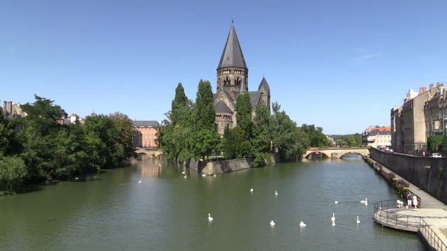 ws view of temple neuf and moselle river / metz, lorraine, france - lorraine stock videos & royalty-free footage