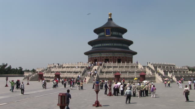 view of temple of heaven in beijing china - temple of heaven stock videos & royalty-free footage