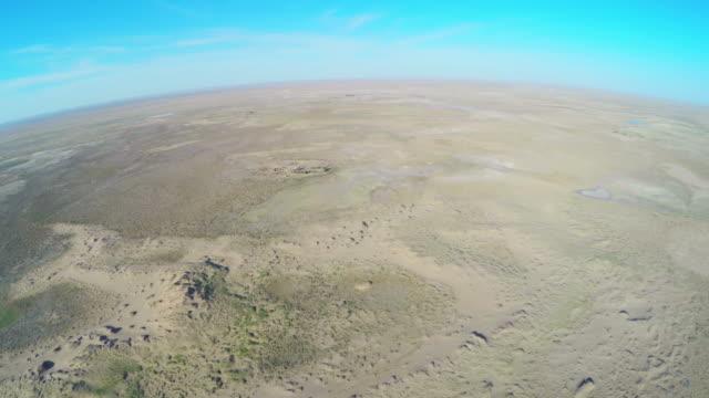 WS PAN AERIAL View of Tengger Desert/Alashan, Inner Mongolia, China.