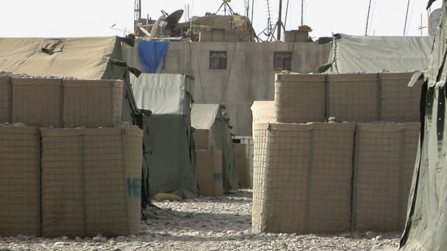 ms view of tents / musa qala helmand province afghanistan - british military stock videos & royalty-free footage