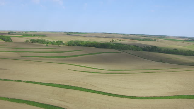 WS AERIAL View of Terrace farming near Omaha / Nebraska, United States