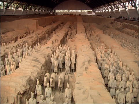 wa view of terracotta army inside of museum of qin, xian, china - army video stock e b–roll