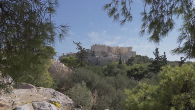 view of the acropolis framed by trees, unesco world heritage site, athens, greece, europe - acropolis athens stock videos & royalty-free footage