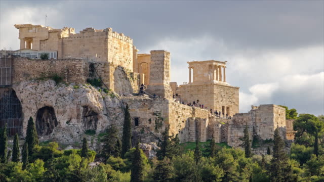 View of the Acropolis of Athens. 4K Time lapse
