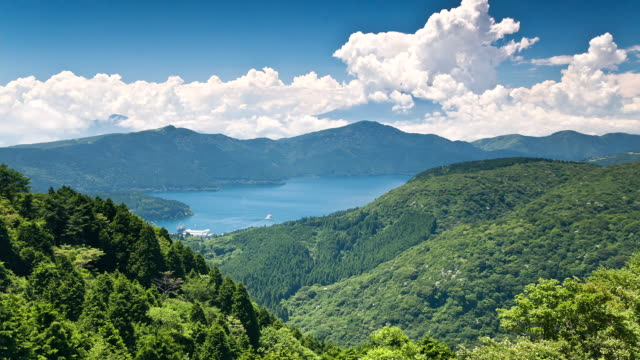 T/L WS View of the Akashi lake with cloudy Mount Fuji / Hakone, Kanagawa, Japan
