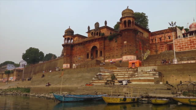 view of the ancient chet singh ghat, river ganga - anchored stock videos & royalty-free footage