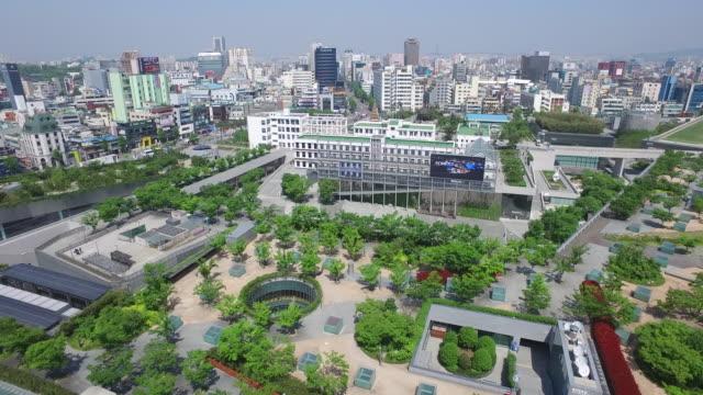 vídeos de stock, filmes e b-roll de view of the asia culture center (acc) in gwangju - coreia do sul
