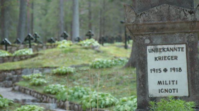 view of the austro-hungarian war cemetery nasswand , in south tirol, italy. this cemetery was created on the other side of the then dressing station... - war stock-videos und b-roll-filmmaterial