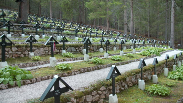view of the austro-hungarian war cemetery nasswand , in south tirol, italy. this cemetery was created on the other side of the then dressing station... - other stock videos & royalty-free footage