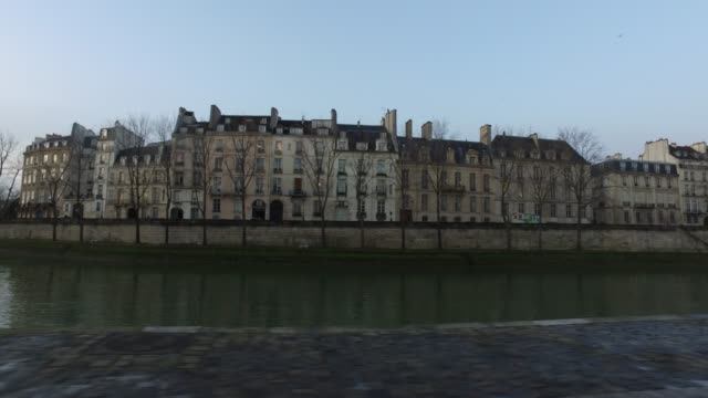 view of the banks of the seine, paris - tracking shot stock videos & royalty-free footage