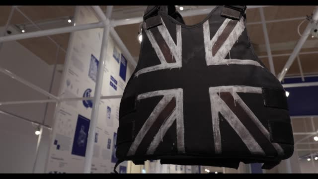 view of the banksy stabproof vest which was worn by stormzy's at glastonbury 2019 part of the beazley designs of the year 2020 photocall at design... - vest stock videos & royalty-free footage